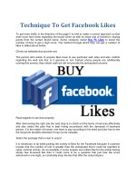 Technique To Get Facebook Likes
