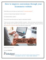 How to improve conversions through your e-commerce website