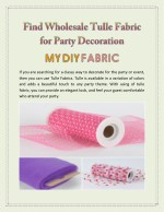 Find Wholesale Tulle Fabric for Party Decoration
