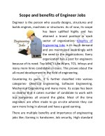 Scope and benefits of Engineer Jobs