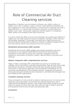 Role of Commercial Air Duct Cleaning services