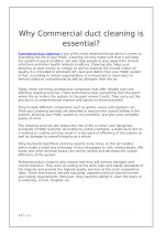 Why Commercial duct cleaning is essential?