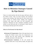 How To Minimize Damages Caused By Pipe Bursts?