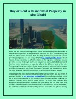 Buy or Rent A Residential Property in Abu Dhabi