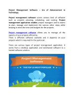 Project Management Software – Era of Advancement in Technology