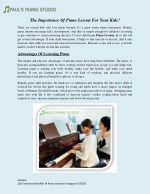 The Importance Of Piano Lesson For Your Kids!