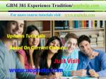 GBM 381 Experience Tradition/uophelp.com