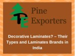 Decorative Laminates? – Their Types and Laminates Brands in India
