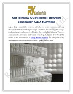 Get To Know A Connection Between Your Sleep And A Mattress