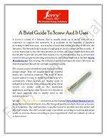 A Brief Guide To Screw And It Uses