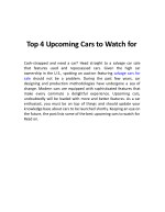 Top 4 Upcoming Cars to Watch for