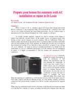Prepare your homes for summers with AC installation or repair in St Louis