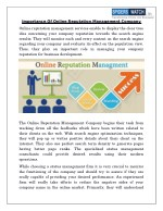 Importance Of Online Reputation Management Company