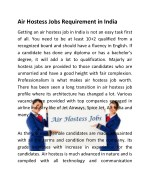 Air Hostess Jobs Requirement in India