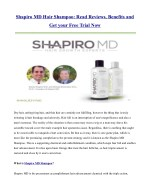 Shapiro MD Hair Shampoo: Read Reviews, Benefits and Get your Free Trial Now
