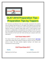 CLAT 2018 Preparation Tips – Preparation Tips by Toppers