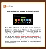 Make Use of Creative Templates for Your Presentations