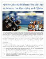 Power Cable Manufacturers Says No to Misuse the Electricity and Cables
