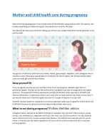 Mother and child health care during pregnancy