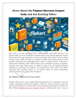 Know About the Flipkart Discount Coupon Code and Get Exciting Offers