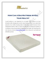How Can A Bad Mattress Affect Your Health?