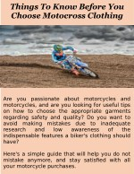 Things To Know Before You Choose Motocross Clothing
