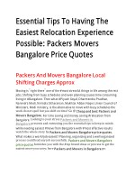 Essential Tips To Having The Easiest Relocation Experience Possible: Packers Movers Bangalore Price Quotes