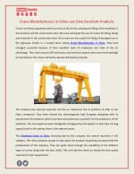 Crane Manufacturers in China can Give Excellent Products