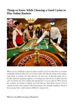 Things to Know While Choosing a Good Casino to Play Online Roulette