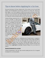 Tips to know before applying for a Car loan