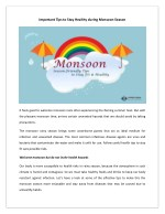 Monsoon Tips for this Rainy Season