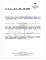 Are you looking for Banquet Hall in Yercaud