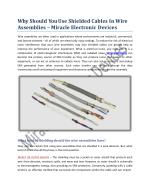 Why Should You Use Shielded Cables In Wire Assemblies - Miracle Electronics