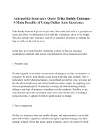 Automobile Insurance Quote Trike Daddy Customs - 4 Main Benefits of Using Online Auto Insurance
