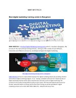 Best digital marketing training centre in Bangalore