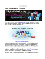 Career in digital marketing  in Bangalore.