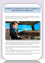 Full fill all your health needs for Cabin Crew Health by an experienced UK CAA Medical Doctor