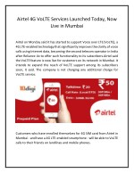 Airtel 4G VoLTE Services Launched Today, Now Live in Mumbai