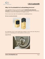 Why C & S Locksmith for Locksmithing Services?