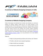 E-commerce Website designing & Developing Company