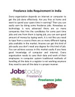 Freelance Jobs Requirement in India