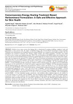 Trivedi Effect - Consciousness Energy Healing Treatment Based Herbomineral Formulation: A Safe and Effective Approach fo