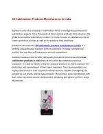 3D SUBLIMATION Products In India