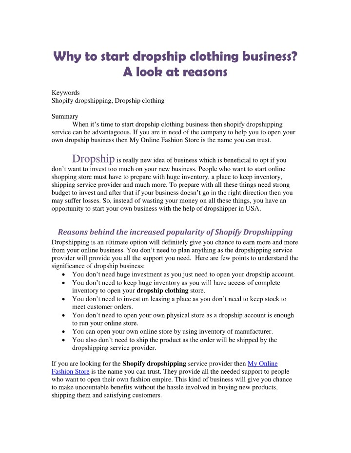 93a1ed6a2 PPT - Why to start dropship clothing business? A look at reasons ...