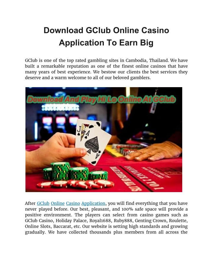 Ppt Download Gclub Online Casino Application To Earn Big Powerpoint Presentation Id 7687942