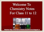 Chemistry Notes For Class 11 Students