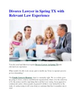 Divorce Lawyer in Spring TX with Relevant Law Experience