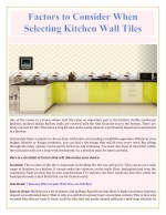 Factors to Consider When Selecting Kitchen Wall Tiles