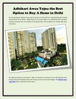 Adhikari Awas Yojna the Best Option to Buy A Home in Delhi