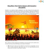 Shop More This Festive Season with Dussehra offers[PDF]